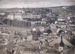 View from town tower in Třebíč at sixties 19th century, colored photo by František Knaus.jpg