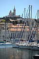 View of the Basilique Notre Dame de la Garde (the Mariners church) as seen from The Old Port of Marseille, Provence-Alpes-Côte d'Azur, Southeastern France , Western Europe.jpg