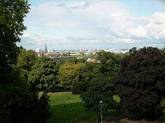 Kreuzberg (Tempelhofer Berge) - View on Berlin from Kreuzberg's National monument for the Liberation Wars.