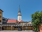 Villach Innenstadt Kirchenplatz 12 Pfarrkirche hl. Jakob Glockenturm S-Ansicht 02072018 3813.jpg