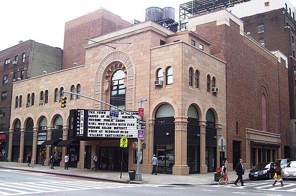 The Village East Cinema/Louis N. Jaffe Theater was originally a Jewish theater Village East former Yiddish Arts Theatre.jpg
