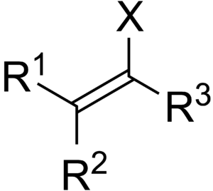 Vinyl halide - General structure of a vinyl halide, where X is a halogen and R is a radical group