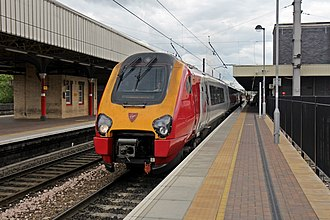 Warrington Bank Quay railway station - A Virgin Voyager, at platform 3, with a service to Scotland