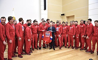 Olympic Athletes from Russia at the 2018 Winter Olympics - Russian ice hockey players present Putin a signed jersey, 31 January 2018