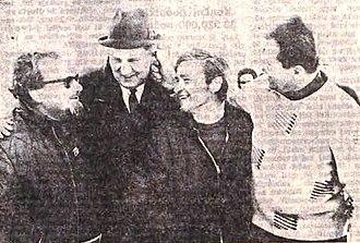 Letalnica bratov Gorišek - Vlado Gorišek and Oman (1st and 3rd from left)