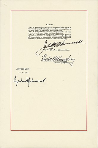 Voting Rights Act of 1965 - Final page of the Voting Rights Act of 1965, signed by President Lyndon B. Johnson, President of the Senate Hubert Humphrey, and Speaker of the House John McCormack