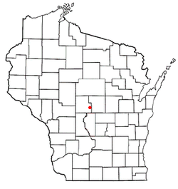 Location of Lake Wazeecha, Wisconsin