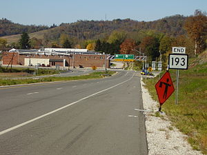 West Virginia Route 193 - WV 193's northern terminus; the ridge in the background is located in Ohio