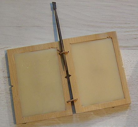 Roman tabula or wax tablet with stylus