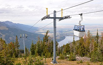 Wallowa Lake Tramway - Tramway from top of Mount Howard with Wallowa Lake in the background