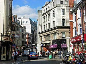 Wardour Street - Wardour Street, looking north from outside St Anne's Church