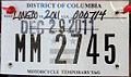 Washington, D.C. temporary motorcycle license plate.JPG