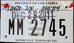 Washington, D.C. temporary motorcycle license plate.JPG