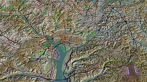 Geography of Washington, D.C. - Aerial view, 3D computer generated image
