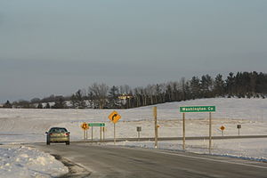 Washington County, Wisconsin - Sign on WIS 28 marking the county boundary