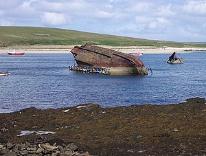 Blockship - Remains of a blockship sunk in Weddell Bay in the Orkney Islands, Scotland