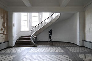 "Bauhaus University, Weimar - Foyer of the former Art School, today the main building of the Bauhaus-Universität, with an art nouveau free-winding staircase and Auguste Rodin's ""Eva"" at the center"