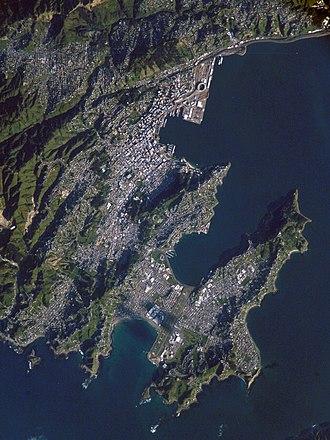 Wellington City Council - Satellite photo of central Wellington (south at bottom left)