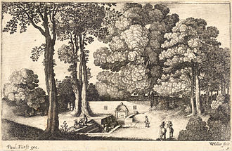 Mineral spring - The Mineral Spring, etching by Wenceslas Hollar (1607-1677). The unidentified central European spring features a sunken stone basin and ornamental retaining wall.