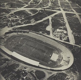 Estádio Moisés Lucarelli - Aerial view of Ponte Preta Stadium still under construction.