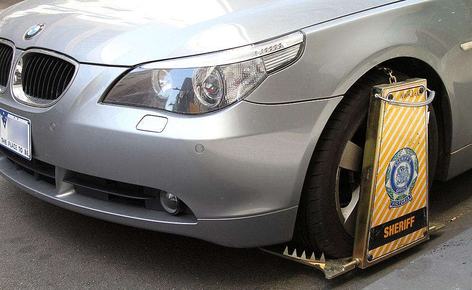 Wheel clamped BMW5Series, Little Collins St, Melb, 19.10.2011, jjron crop