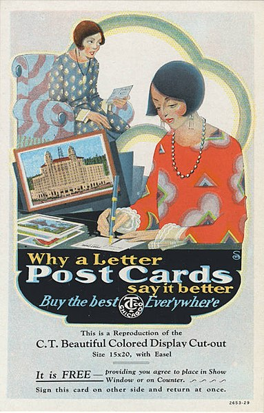 File:Why write a letter when postcards say it better, two 1920s women, one writing, one reading,... (NBY 417299).jpg