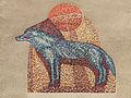 """Wien-Penzing - Wolfersberggasse 13-17 - Mosaik """"Sinnbildliche Darstellung des Wolfes"""" - von Isolde Jurina 1954.jpg"""