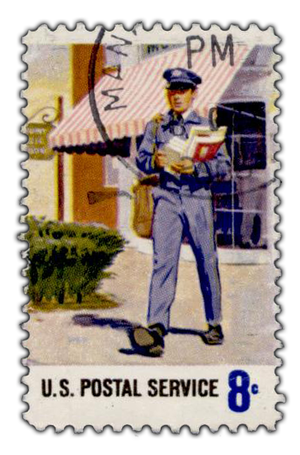 USPS stamp showing a postman, from en.wikipedi...