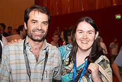 me with User:Patricio.lorente at Wikimania 2008.