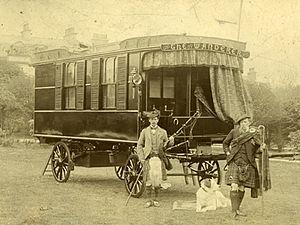 Caravan (towed trailer) - Dr. William Gordon Stables in his leisure caravan, the Wanderer.