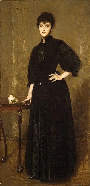"Mariette Leslie Cotton - ""Lady in Black"" (Portrait of Mariette Leslie Cotton at age nineteen) by William Merritt Chase (1888, oil on canvas, 74 1/4 x 36 5/16 inches)"