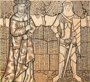 Stained glass cartoon King Arthur and Sir Lancelot
