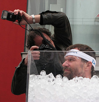 Ice bath - Iceman Wim Hof in an ice bath in 2007.