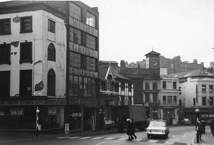 Withy Grove, looking west in 1967 before redevelopment. Withy Grove 1967.jpg
