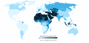 The Muslim population of the world map by perc...