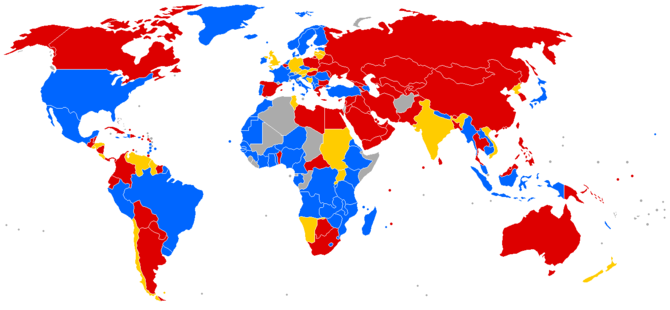 World map of travel and residence restrictions...