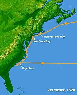 Verrazzano's voyage of 1524.
