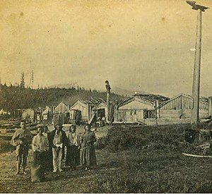Wrangell Bombardment - Village of Wrangell, 1868, in present-day Front Street