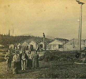 Wrangell, Alaska - Village of Wrangel Alaska (Tlingit: Ḵaachx̱aana.áak'w) in 1868, present-day Front Street.