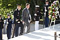 Wreath laying at Pres. Kennedy's gravesite in Arlington National Cemetery (27301931946).jpg