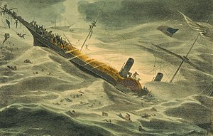Painting of the sinking of the Central America