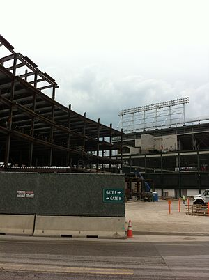 Wrigley Field renovations - Triangle Plaza and future Cubs office building under construction at the conclusion of the 2015 season