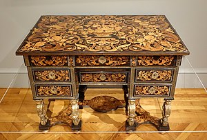 Pierre Golle - Writing desk,  made of ebony, rosewood, fruitwoods, gilt wood, pewter, and brass, c. 1680
