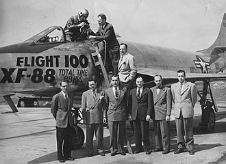McDonnell XF-88 Voodoo - The engineering team stands after Flight 100.