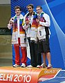XIX Commonwealth Games-2010 Delhi Winners of Women's 200m Butterfly, Clos Le from South Africa (Gold), Michel Rock from England (Silver) and S. Hirniak from Canada (Bronze), during the medal presentation ceremony.jpg
