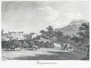 Ynysymaengwyn - Ynysymaengwyn mansion and part of estate. Cows and horse-drawn carriage in foreground