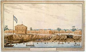 Sempronius Stretton - York Barracks in 1805 by Stretton (this would become the city of Toronto).