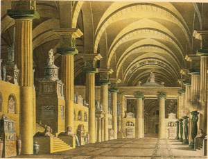 Zelmira - Set for the mausoleum (lithograph by Pasquale Canna, 1771 - 1830)