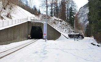 Luzern–Stans–Engelberg railway line - The lower entrance to the new tunnel between Grafenort and Engelberg. The former route can be seen diverging to the right.