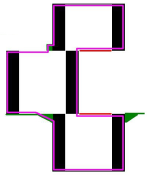 Zig Zag Girl - The design of the box creates a usable space (shown in pink) larger than the audience would expect. Black stripes down the front of the cabinet make this space appear narrower, and the blades (shown in red) do not extend all the way across. Apparent ornamentation on the box (shown in green) is hollow inside, providing the performer with more space.